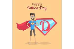 Happy Fathers Day Poster. Daddy Super Hero