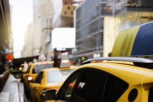 Taxi stop in Manhattan.