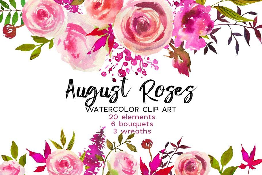 August Roses Watercolor Clip Art Illustrations Creative Market