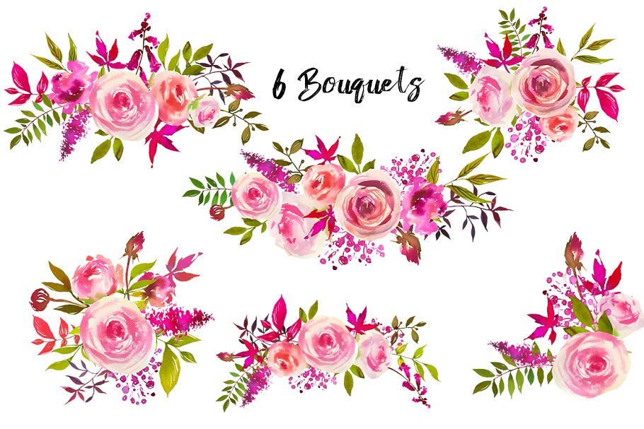 August Roses Watercolor Clip Art
