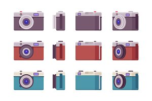 Photo camera set in black, red, blue color