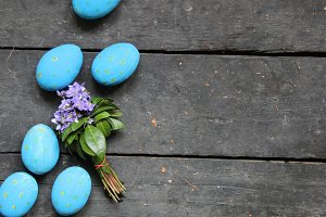 Easter eggs on a wood background
