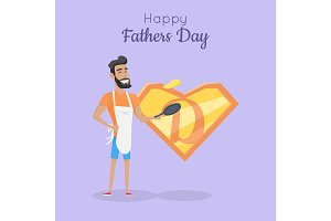 Happy Fathers Day Poster. Daddy Great Cooker