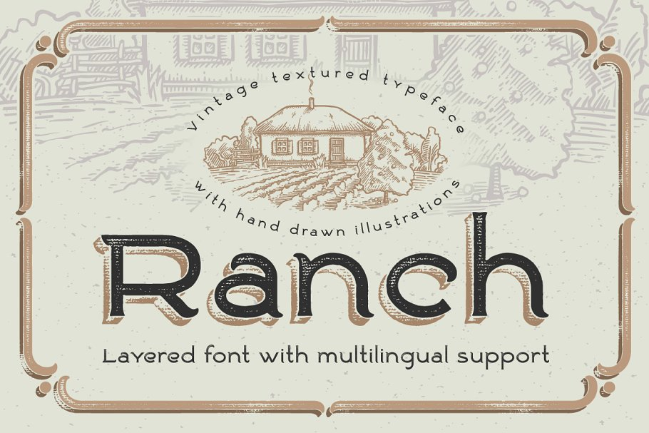Ranch vintage font & illustrations
