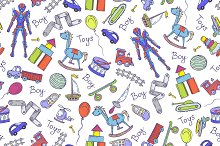 Pattern with hand drawn toys for boy