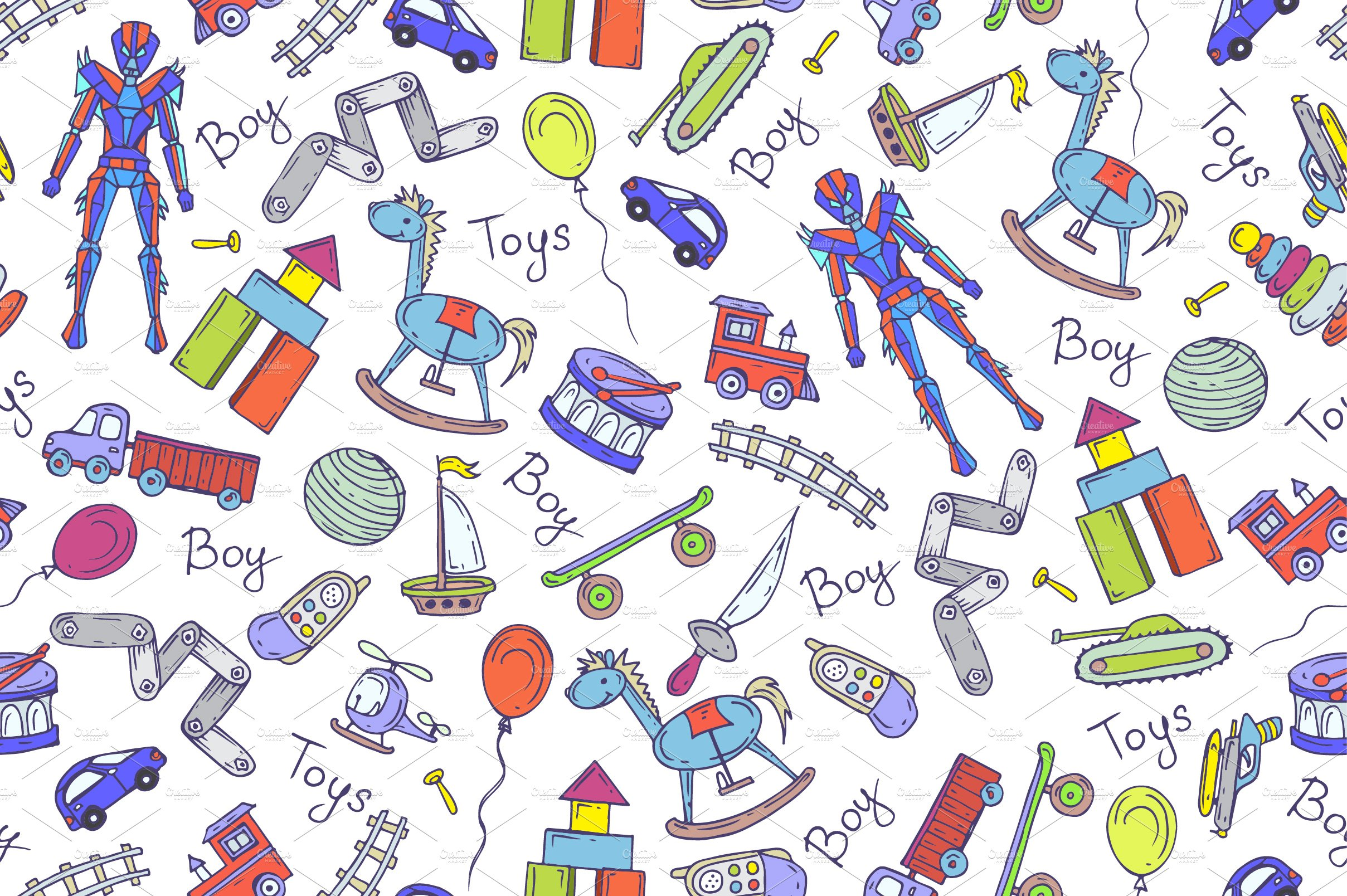 Boy Toys Background : Pattern with hand drawn toys for boy graphic patterns
