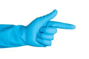 scientist hand in blue glove