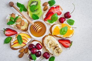 Selection of summer Colorful natural healthy snacks. Sandwiches
