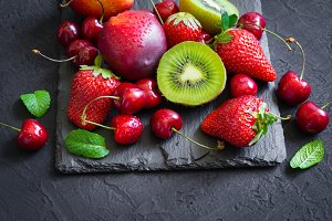 Assorted of Juicy summer fruits and berries. Strawberry, cherry,