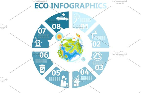 Eco Round Infographics With Earth Illustration