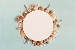 Sea summer travel Concept. Frame of sea shells on a blue backgro