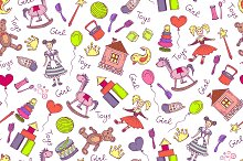 Pattern with toys for little girl