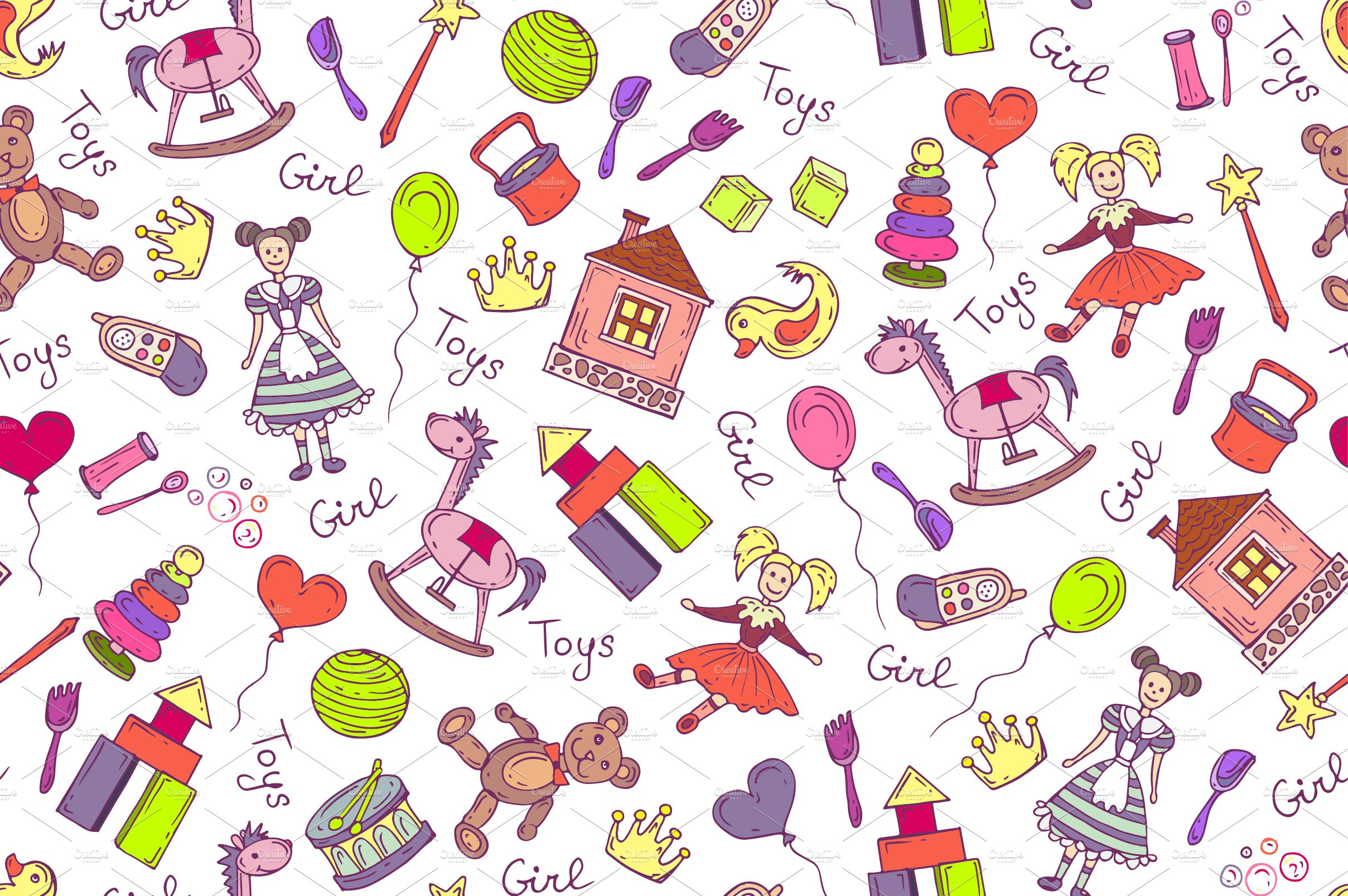 Pattern With Toys For Little Girl Graphic Patterns Creative Market