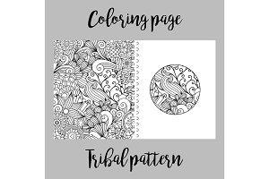 Coloring page with tribal pattern