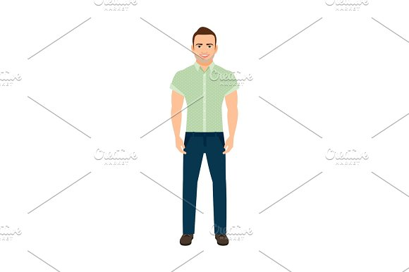 Adult Guy In Blue Shirt