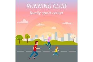 Family Running on Asphalt Road from Sport Center