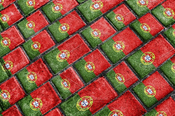 Portugal Flag Urban Grunge Pattern