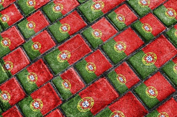Portugal Flag Urban Grunge Pattern