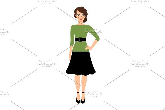 Young Teacher Lady In Green Dress