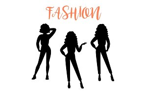 Fashion woman silhouette in casual clothes