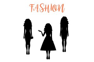 Fashion woman silhouette with long hairstyle