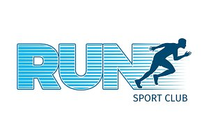 Running Sportsman on White Background. Sport Club