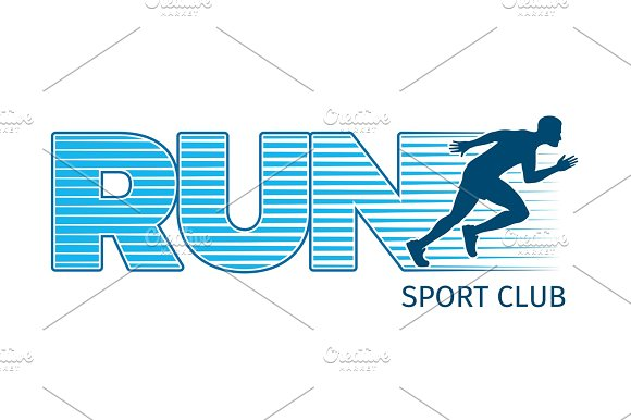 Running Sportsman On White Background Sport Club