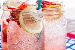 strawberry lemon soda beverage