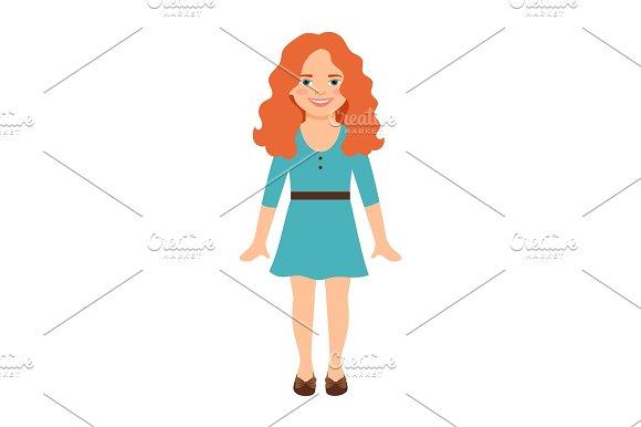 Redhead Girl In Blue Dress