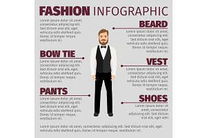 Fashion infographic with bearded hipster man