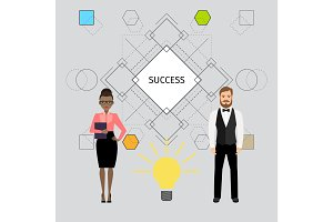 Success concept illustration with business people