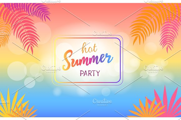 Hot Summer Party Background with Palm Trees