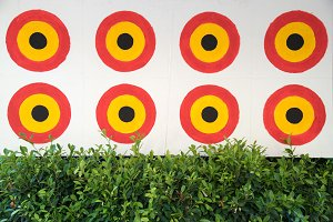 circle bow target on white wall