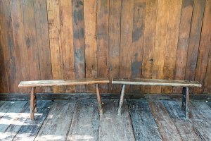 chairs on plank wood background