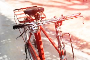 vintage red bicycle
