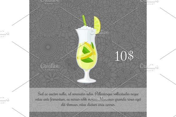 Green tea cocktail card template