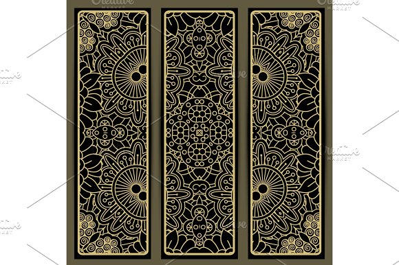 Vertical flyers with brown doodle pattern