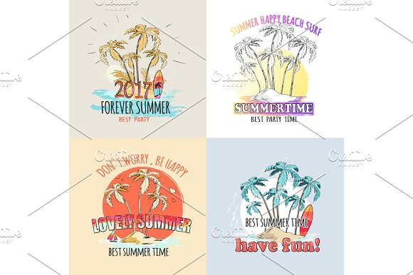 Best Summer Time Parties Set Of Illustrations