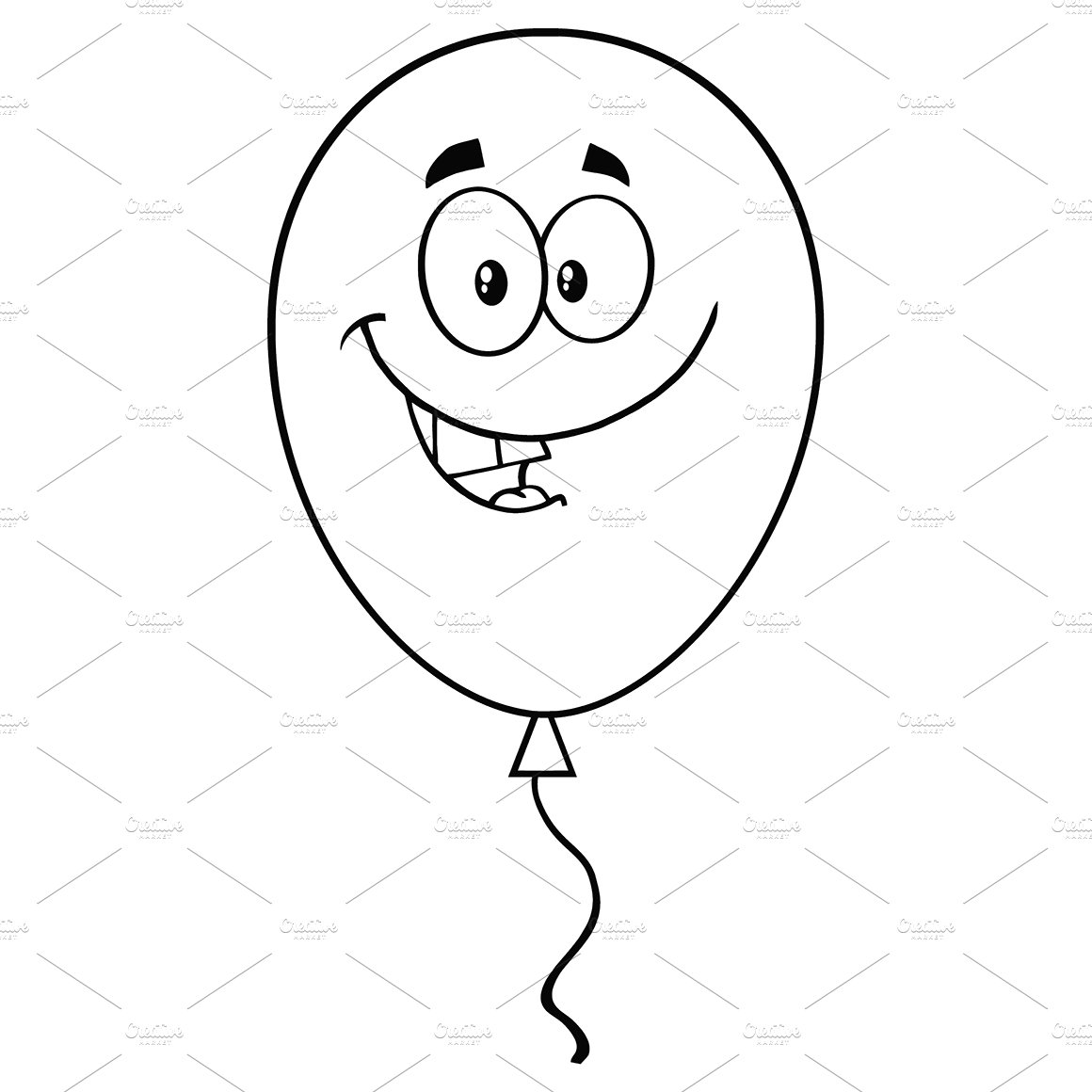 Smiling Black And White Balloon  Illustrations  Creative -9462