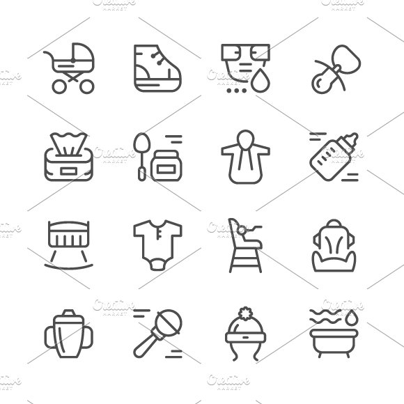 Set line icons of newborn