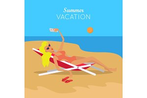 Summer Vacation. Woman in Sexy Bikini. Vector