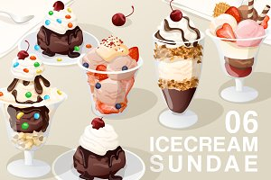 Set of Icecream Sundae 06