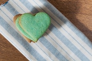 Green butter cookies, heart shaped