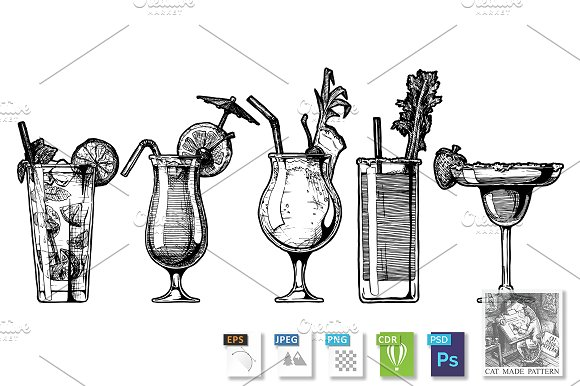 Vector Set Of Alcohol Cocktail