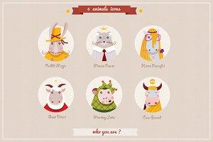 6 animlas characters icons