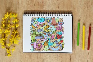 Baby Toys Doodle Pattern