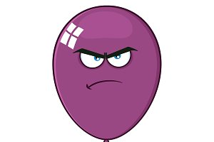Angry Purple Balloon Character