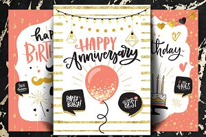Happy birthday cards - set of 3
