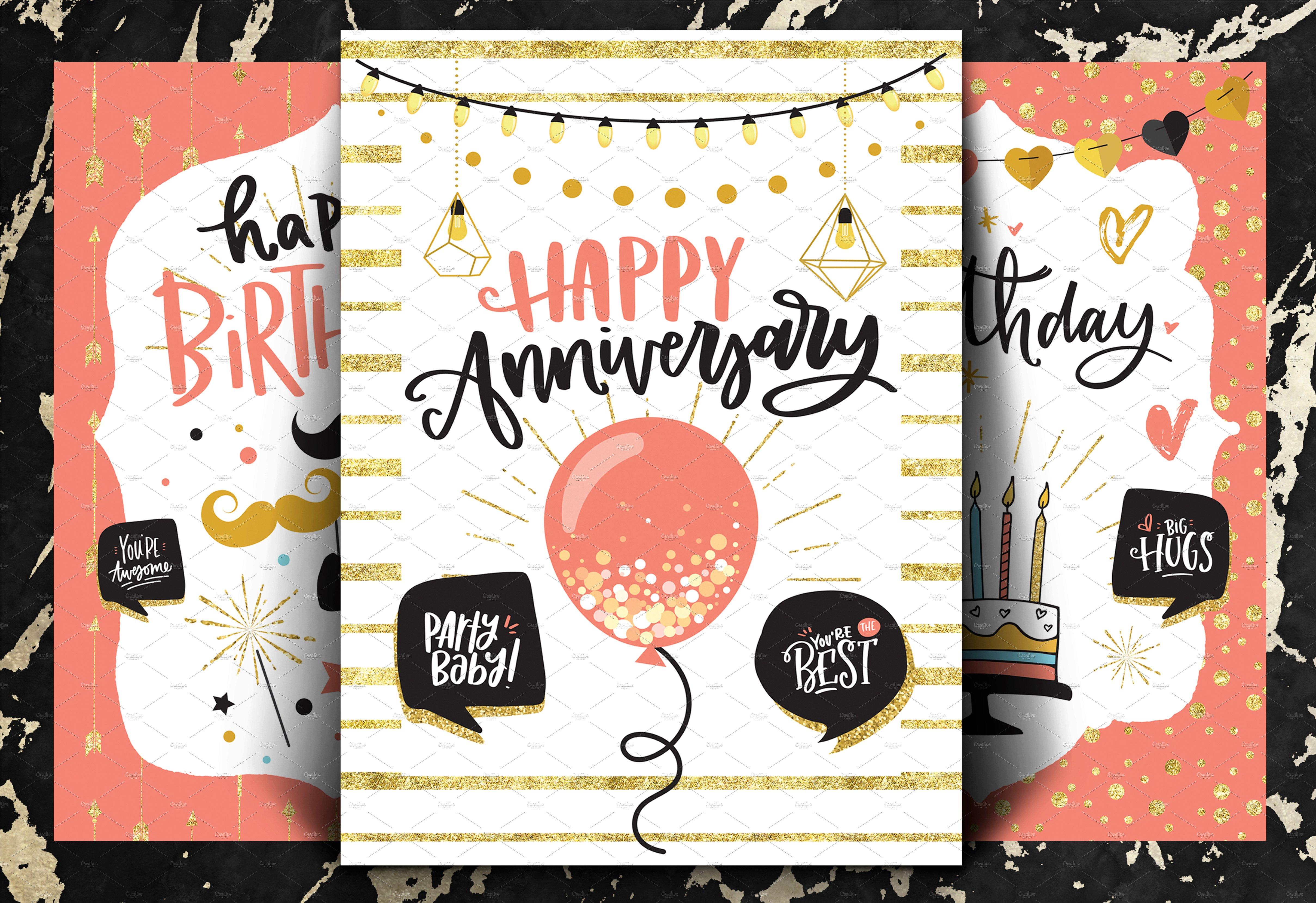 happy birthday cards  set of 3  invitation templates