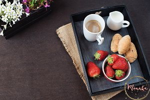 Coffee, French pastries, strawberry